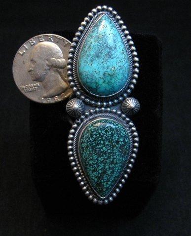 Image 5 of Amazing Gem Quality Turquoise Ring Navajo Freddie Maloney sz 8-1/4