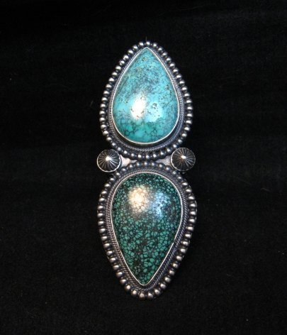 Image 7 of Amazing Gem Quality Turquoise Ring Navajo Freddie Maloney sz 8-1/4