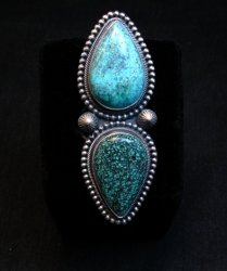 Amazing Gem Quality Turquoise Ring Navajo Freddie Maloney sz 8-1/4