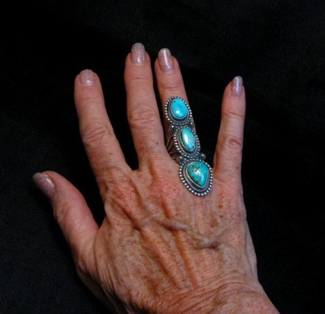 Image 2 of Long Navajo 3-Stone Turquoise Silver Ring by Freddie Maloney sz7
