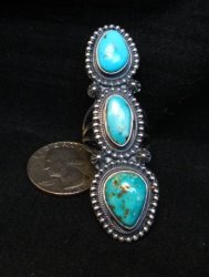 Long Navajo 3-Stone Turquoise Silver Ring by Freddie Maloney sz7