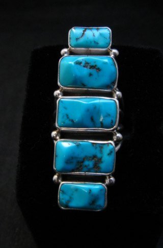 Image 0 of Gorgeous Turquoise Silver Ring by Navajo Verdy Jake sz8