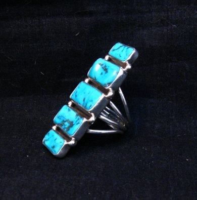 Image 1 of Gorgeous Turquoise Silver Ring by Navajo Verdy Jake sz8