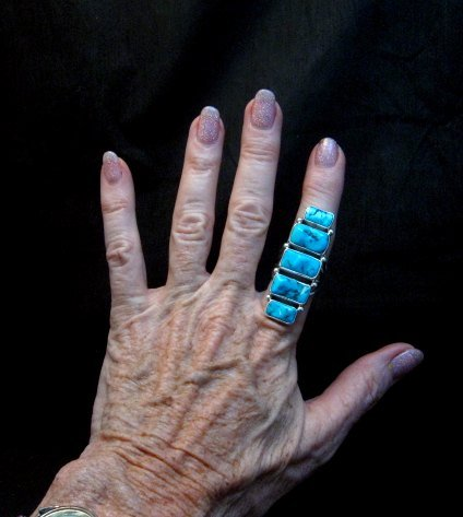Image 2 of Gorgeous Turquoise Silver Ring by Navajo Verdy Jake sz8
