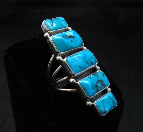 Image 3 of Gorgeous Turquoise Silver Ring by Navajo Verdy Jake sz8