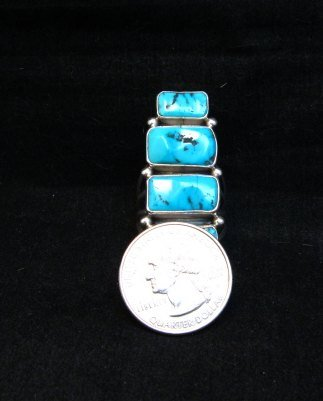 Image 5 of Gorgeous Turquoise Silver Ring by Navajo Verdy Jake sz8