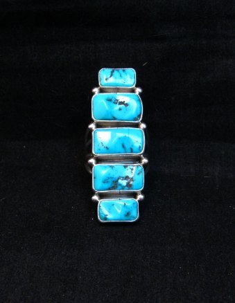 Image 6 of Gorgeous Turquoise Silver Ring by Navajo Verdy Jake sz8