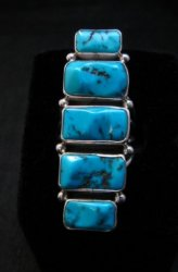 Gorgeous Turquoise Silver Ring by Navajo Verdy Jake sz8