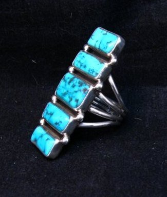 Image 2 of Navajo Native American Indian Turquoise Silver Ring, Verdy Jake, sz7