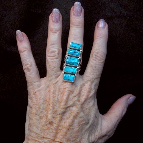 Image 3 of Navajo Native American Indian Turquoise Silver Ring, Verdy Jake, sz7