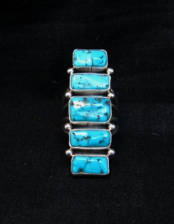 Image 5 of Navajo Native American Indian Turquoise Silver Ring, Verdy Jake, sz7