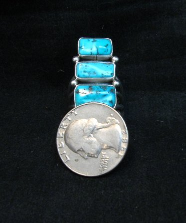 Image 6 of Navajo Native American Indian Turquoise Silver Ring, Verdy Jake, sz7