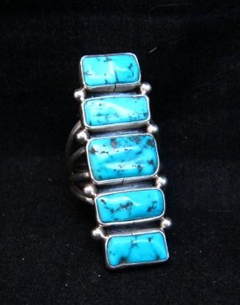 Image 0 of Navajo Native American Indian Turquoise Silver Ring, Verdy Jake, sz7