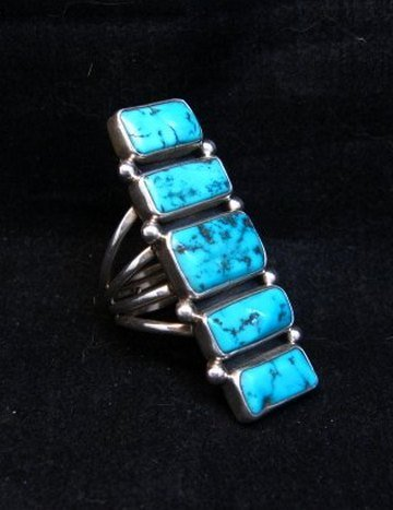 Image 1 of Navajo Native American Indian Turquoise Silver Ring, Verdy Jake, sz7
