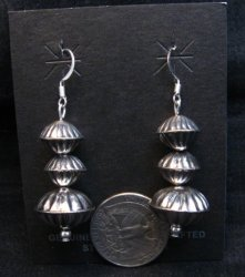 Navajo Hollow Sterling Silver Fluted Bead Dangle Earrings