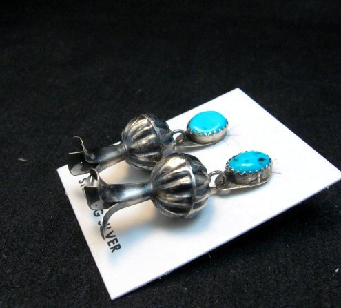 Image 1 of Navajo Turquoise Sterling Silver Fluted Squash Blossom Earrings, Marie Kurley