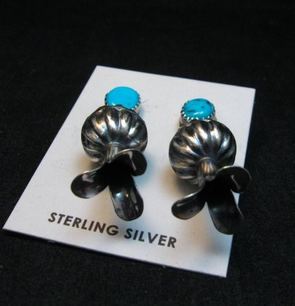 Image 2 of Navajo Turquoise Sterling Silver Fluted Squash Blossom Earrings, Marie Kurley