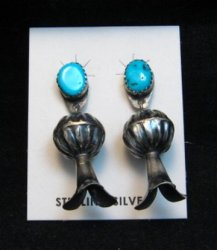 Navajo Turquoise Sterling Silver Fluted Squash Blossom Earrings, Marie Kurley
