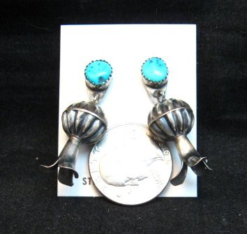 Image 2 of Navajo Native American Turquoise Silver Squash Blossom Earrings, Marie Kurley