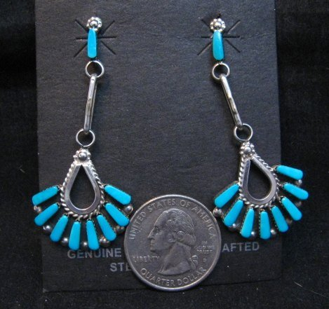 Image 1 of Elegant Zuni Turquoise Dangle Earrings, Charlene Hattie