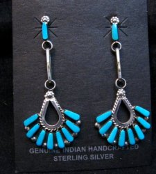 Elegant Zuni Turquoise Dangle Earrings, Charlene Hattie