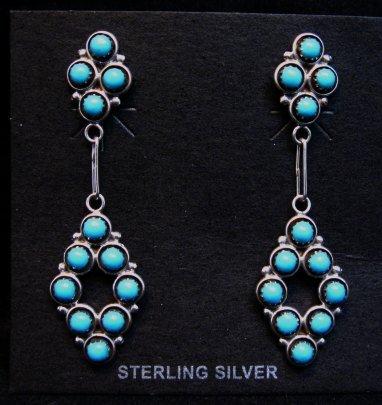 Image 0 of Zuni Turquoise Snake-eye Post Dangle Earrings, Booqua