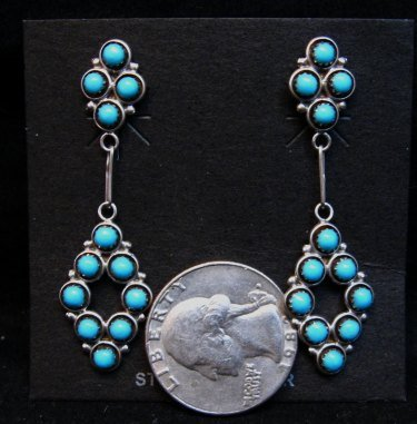 Image 1 of Zuni Turquoise Snake-eye Post Dangle Earrings, Booqua