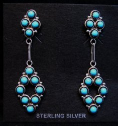 Zuni Turquoise Snake-eye Post Dangle Earrings, Booqua