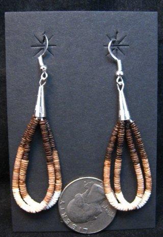 Image 1 of Navajo Brown Shell Heishi 2 strand Earrings