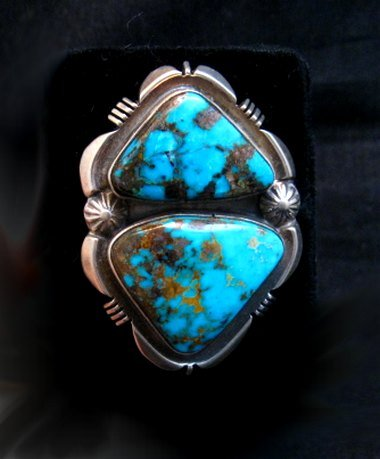 Image 0 of Navajo Native American Persian Turquoise Silver Ring Dean Sandoval sz8-7/8