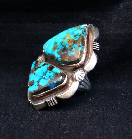 Image 2 of Navajo Native American Persian Turquoise Silver Ring Dean Sandoval sz8-7/8
