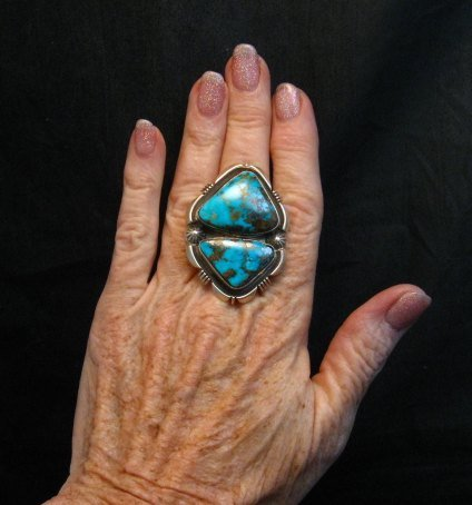 Image 1 of Navajo Native American Persian Turquoise Silver Ring Dean Sandoval sz8-7/8
