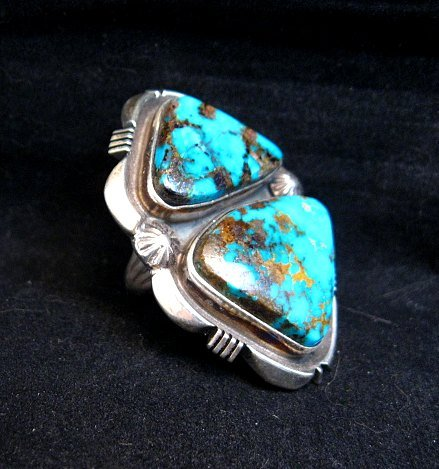 Image 3 of Navajo Native American Persian Turquoise Silver Ring Dean Sandoval sz8-7/8