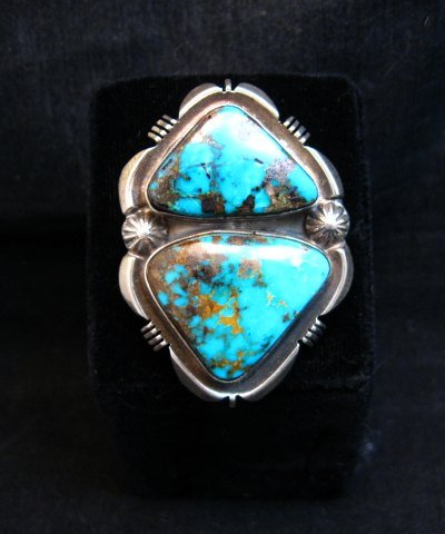 Image 5 of Navajo Native American Persian Turquoise Silver Ring Dean Sandoval sz8-7/8