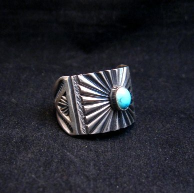 Image 0 of Old Pawn Style Navajo Turquoise Silver Ring Sz9-1/4, Derrick Gordon
