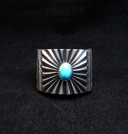 Image 1 of Old Pawn Style Navajo Turquoise Silver Ring Sz9-1/4, Derrick Gordon