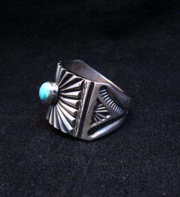 Image 2 of Old Pawn Style Navajo Turquoise Silver Ring Sz9-1/4, Derrick Gordon