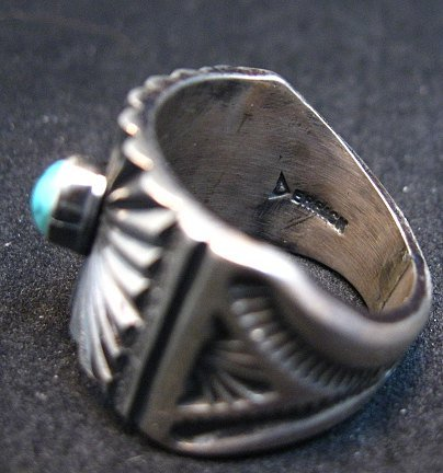 Image 3 of Old Pawn Style Navajo Turquoise Silver Ring Sz9-1/4, Derrick Gordon