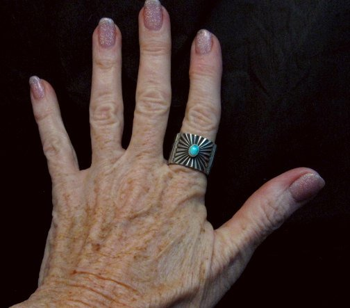 Image 4 of Old Pawn Style Navajo Turquoise Silver Ring Sz9-1/4, Derrick Gordon