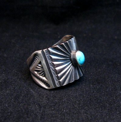 Image 5 of Old Pawn Style Navajo Turquoise Silver Ring Sz9-1/4, Derrick Gordon
