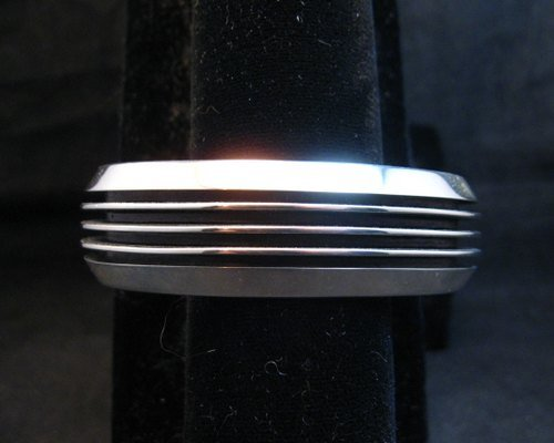 Image 0 of Contemporary Native American Navajo Sterling Silver Cuff Bracelet Tom Hawk