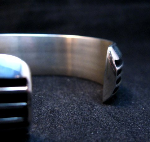 Image 4 of Contemporary Native American Navajo Sterling Silver Cuff Bracelet Tom Hawk