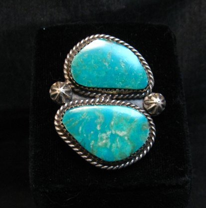 Image 0 of Double Kingman Turquoise Silver Ring sz8 by Navajo Rosella Paxson