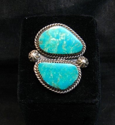 Image 1 of Double Kingman Turquoise Silver Ring sz8 by Navajo Rosella Paxson