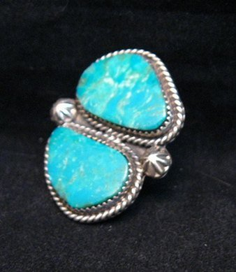 Image 2 of Double Kingman Turquoise Silver Ring sz8 by Navajo Rosella Paxson