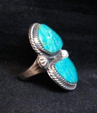 Image 3 of Double Kingman Turquoise Silver Ring sz8 by Navajo Rosella Paxson