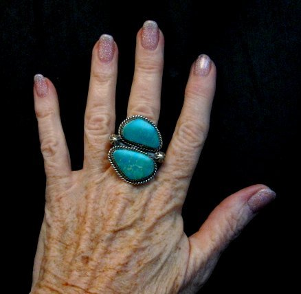 Image 4 of Double Kingman Turquoise Silver Ring sz8 by Navajo Rosella Paxson