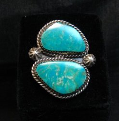 Double Kingman Turquoise Silver Ring sz8 by Navajo Rosella Paxson