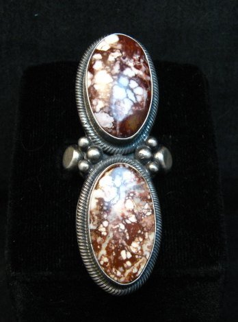 Image 0 of Gloria Begay Navajo Indian 2-stone Wild Horse Silver Ring sz6