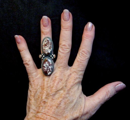 Image 2 of Gloria Begay Navajo Indian 2-stone Wild Horse Silver Ring sz6